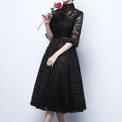 Luxury Style - Elbow Sleeve A-line Lace Cocktail Dress