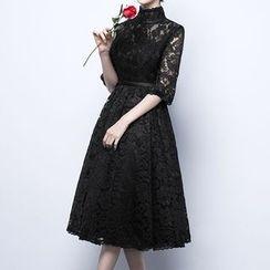 名贵风格 - 中袖A字蕾丝礼服裙