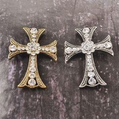 Trend Cool - Rhinestone Cross Brooch