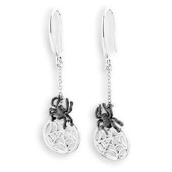 Bling Bling - Bling Bling 925 Sterling Silver Halloween Spider Net Dangling Earrings
