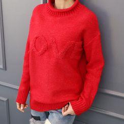DANI LOVE - Crew-Neck Lettering Sweater