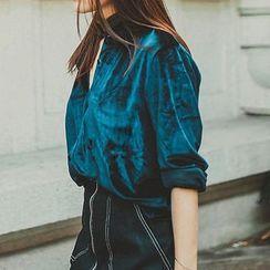 Richcoco - V领植毛绒长袖衬衫
