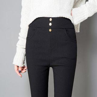 Hyoty - Buttoned High Waist Skinny Pants