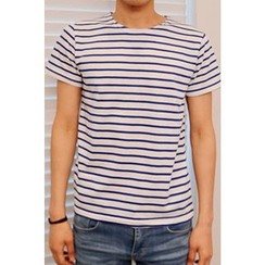 Ohkkage - Round-Neck Stripe T-Shirt