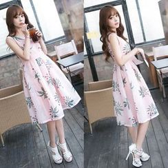 Dowisi - Printed Sleeveless Organza Dress