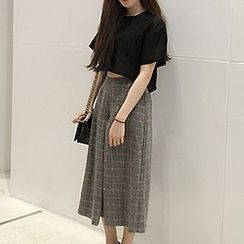 Fashion Street - Wide Leg Cropped Plaid Pants