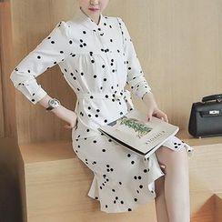 EFO - Long-Sleeve Dotted Ruffle Dress