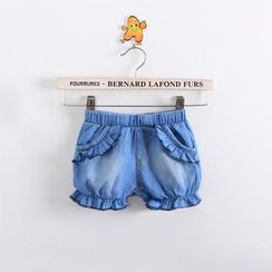 Cuckoo - Kids Ruffle Denim Shorts