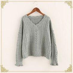 Fairyland - V-Neck Pointelle Knit Sweater
