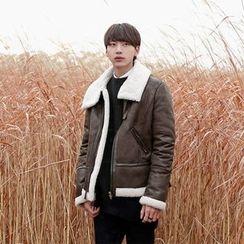Seoul Homme - Faux-Leather Fleece-Lined Jacket