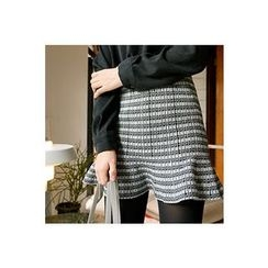 CHERRYKOKO - Ruffle-Hem Patterned Mini Skirt
