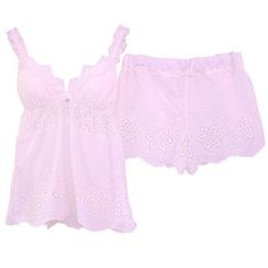 Snorie - Lounge Wear Set: Lace Strappy Top + Shorts