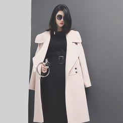 Sonne - Lapel Long Wool Coat