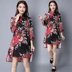 Diosa - 3/4-Sleeve Floral Cheongsam