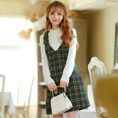 Altalena - Plaid Wool Jumper Dress