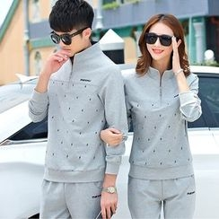 Blitz - Couple Matching Set: Patterned Pullover + Pants