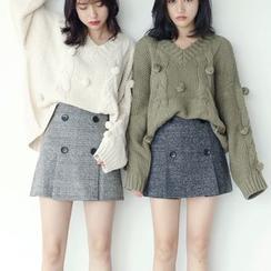 Porta - Buttoned A-line Skirt
