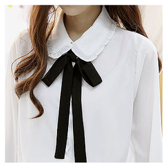 Sechuna - Frill-Trim Tie-Front Blouse