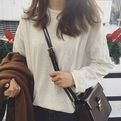 Dute - 純色長袖T恤