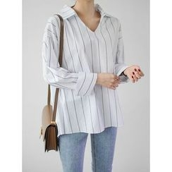 STYLEBYYAM - V-Neck Stripe Top
