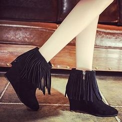 Gizmal Boots - Fringed Wedge Ankle Boots