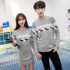 CASSY - Patterned Couple Matching Knit Top