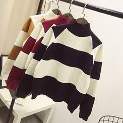 Polaris - Striped Mock Neck Sweater