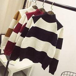 Polaris - 条纹小高领毛衣