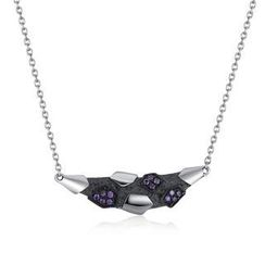 MBLife.com - Left Right Accessory - 925 Silver Meteorolite Shaped with Purple CZ Necklace