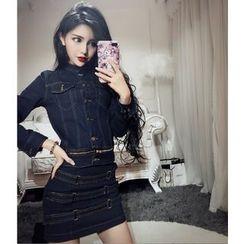 Baliz - Set: Denim Long-Sleeve Top + Skirt