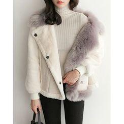 UPTOWNHOLIC - Color-Block Faux-Fur Jacket