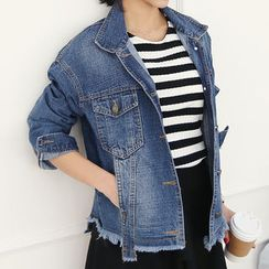 DANI LOVE - Fray-Hem Denim Jacket