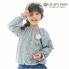 LILIPURRI - Girls Frill-Cuff Shirred Floral Top