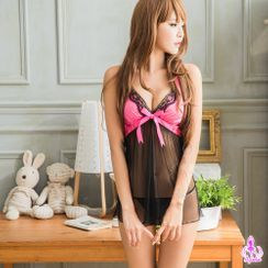 Ayoka - Set: Bow-Accent Lace-Trim Mesh-Hem Night Dress + G-String