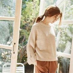 MAGJAY - Cuff-Sleeve Dip-Back Knit Top