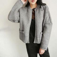 Pecora - 純色羊毛拉鏈外套