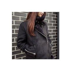 CHERRYKOKO - Belted Faux-Shearling Biker Jacket