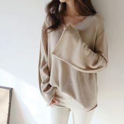 Hello sweety - V-Neck Plain Knit Top