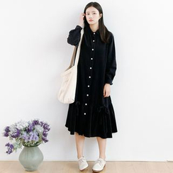 Forest Girl - Corduroy Long-Sleeve Dress
