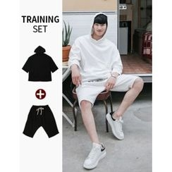 STYLEMAN - Set:3/4-Sleeve Hoodie T-Shirt + Drawstring-Waist Sweat Shorts