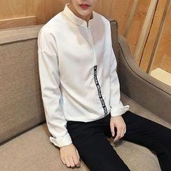 JORZ - Half Zip Mandarin Collar Chiffon Shirt