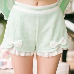 Candy Rain - Bow Accent Frill Trim Shorts
