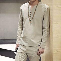 Breeson - Set: V-Neck Long-Sleeve T-Shirt + Pants