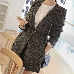 Queen Bee - Open Front Tie Waist Wool Jacket