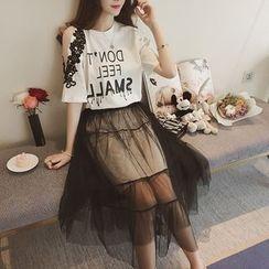 Cherry Dress - Set: Short-Sleeve Lettering T-Shirt Dress + Sheer Midi Skirt