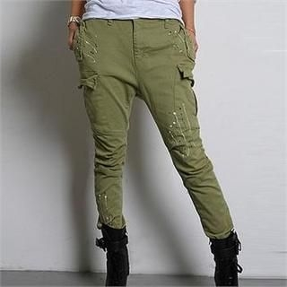 FASHION DIVA - Paint-Splattered Low-Crotched Cargo Pants