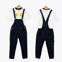 Mr. Cai - Stitched Cropped Suspender Jeans