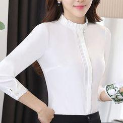 Eferu - 荷叶边领雪纺衬衫