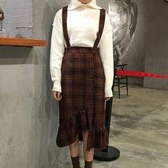 Cloud Nine - Plaid Fringe Hem Jumper Dress