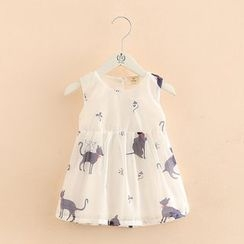 Seashells Kids - Kids Cat Print Sleeveless A-Line Chiffon Dress